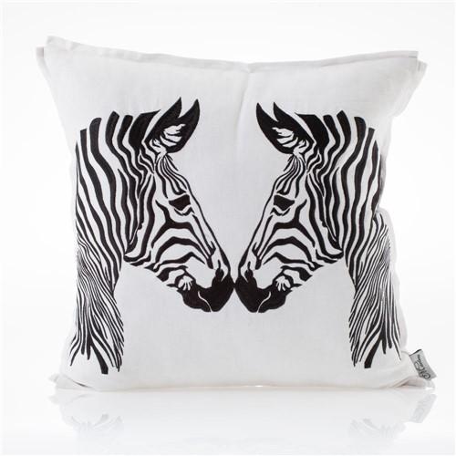 Almofada de Linho Bordada Zebra 45x45 Cm