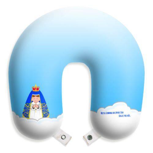 Almofada de Pescoço Nossa Senhora Aparecida Travesseiro para Viagens e Descanso com Botão