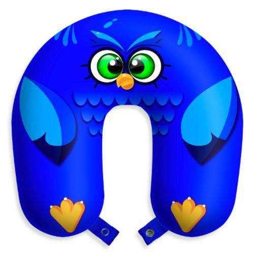 Almofada de Viagem Coruja Azul Travesseiro para Descanso Corujinha com Botões