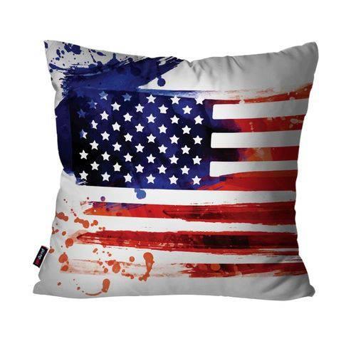 Almofada Decorativa Avulsa Branco Bandeira dos Estados Unidos