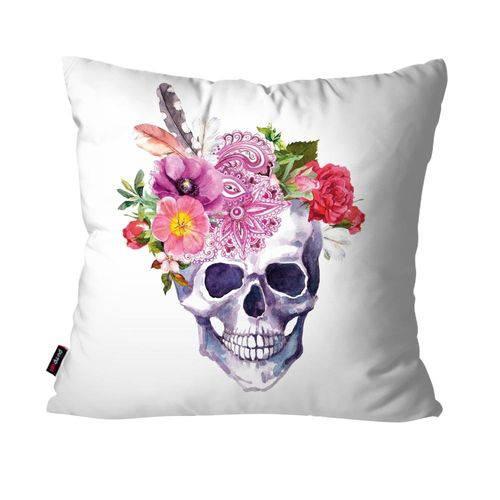 Capa de Almofada Decorativa Avulsa Branco Caveira Mexicana