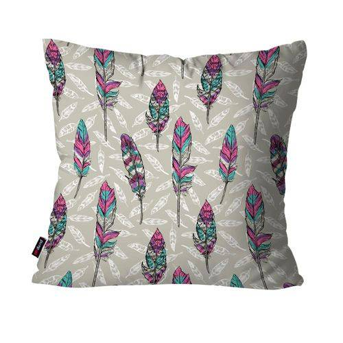 Almofada Decorativa Avulsa Cinza Penas Coloridas