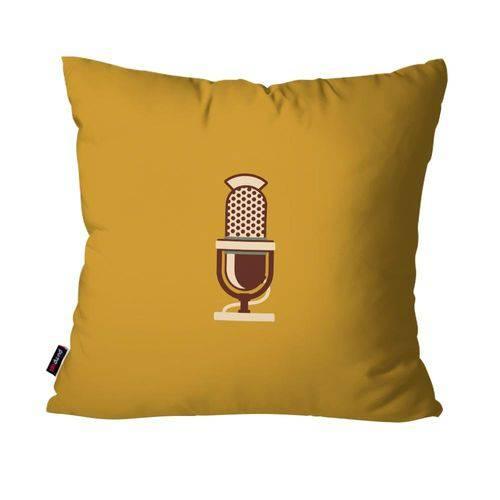 Almofada Decorativa Avulsa Ocre Retrô Microfone