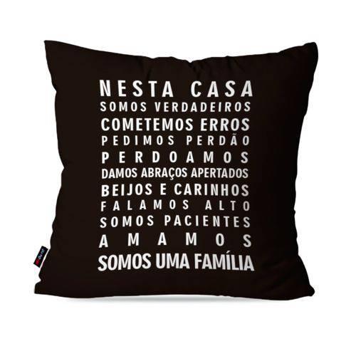 Almofada Decorativa Avulsa Preto Frases Nesta Casa Família