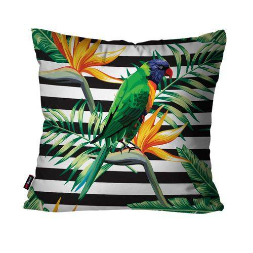 Almofada Decorativa Avulsa Verde Pássaro e Flores