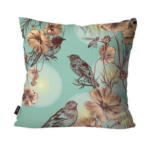 Capa de Almofada Decorativa Avulsa Verde Pássaro e Flores
