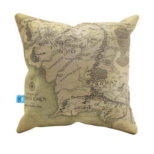 Almofada Decorativa do Mapa do Senhor dos Anéis Pelúcia 40x40 Almofadageek