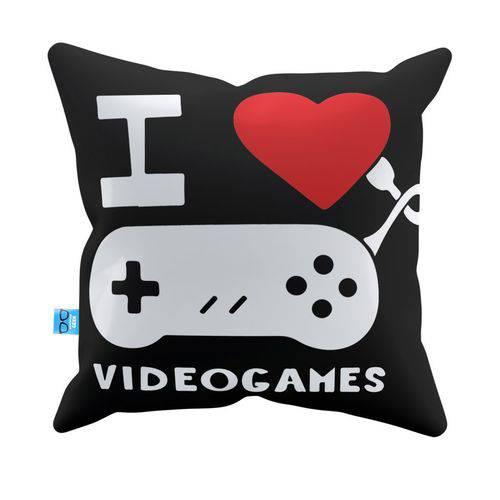 Almofada Decorativa I Love Video Games Pelúcia 40x40 Almofadageek