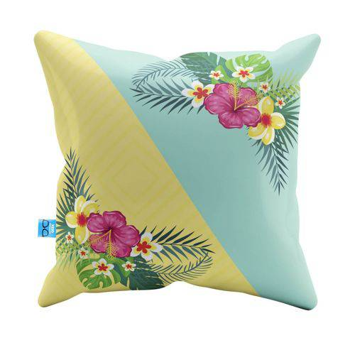 Almofada Decorativa Summer With Tropical Flowers Pelúcia 40x40 Almofadageek