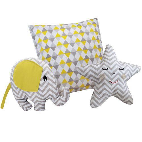 Almofada Elefante Amarelo 3 Peças