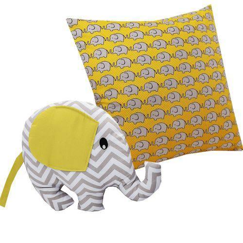 Almofada Elefante Amarelo 2 Peças