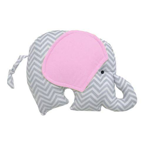 Almofada Elefante Chevron Cinza e Rosa