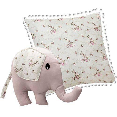 Almofada Elefante Nervura Floral Rosa 2 Peças