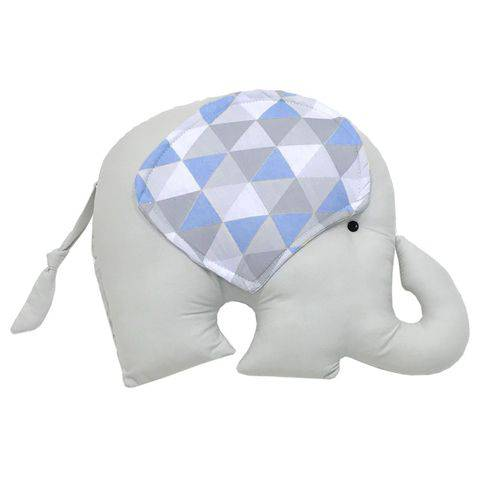 Almofada Elefante Triângulos Cinza e Azul