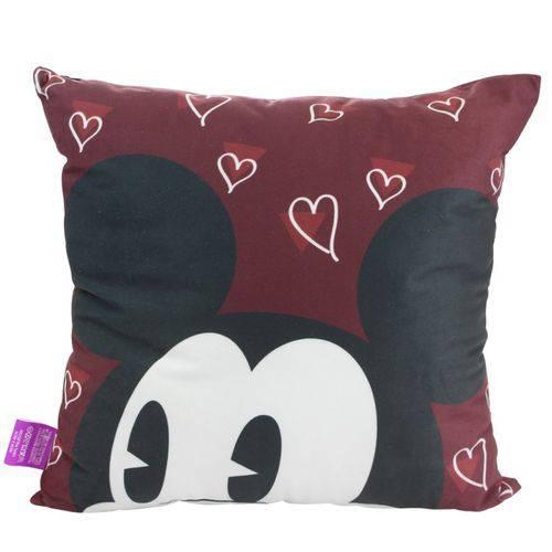 Almofada Fibra Veludo Vinho Mickey e Minnie Olhares Apaixonados