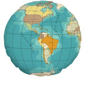 Almofada Formato Mapa Mundi Redonda