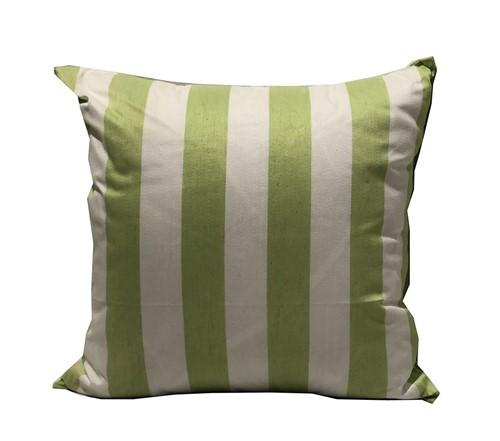 Almofada Listrada Branca e Verde Seda Mista 50x50 -Occa Moderna