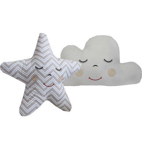 Almofada Nuvem Cinza e Estrela Chevron Azul
