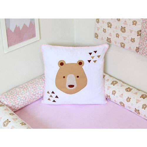 Almofada Pompom Urso Rosa