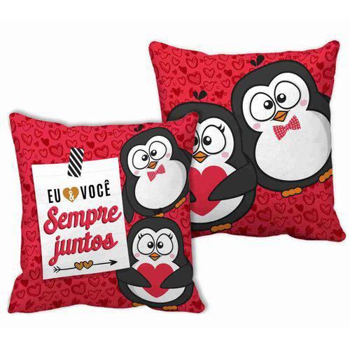 Almofada Quadrada Vermelha Sempre Juntos Pinguim