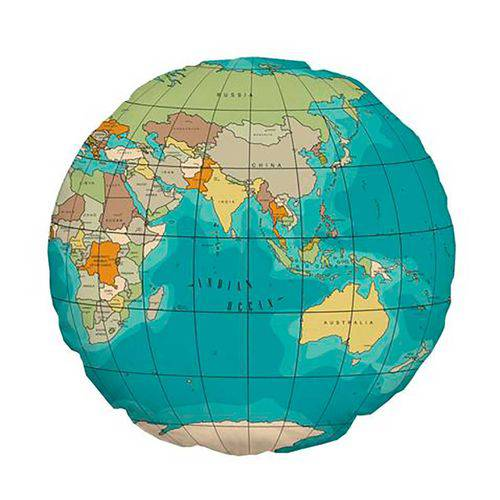 Almofada Redonda Mapa Múndi