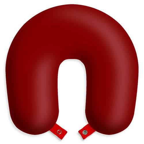 Almofada Travesseiro de Pescoço para Viagens e Descanso - Vermelha Escura com Botão