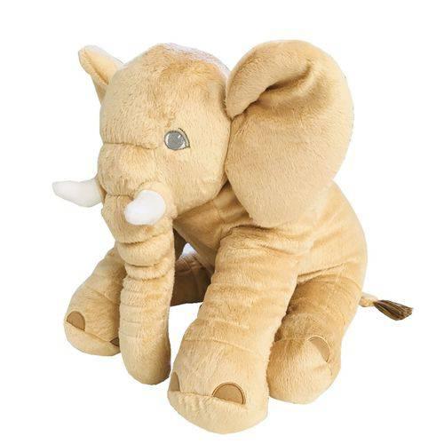 Almofada Travesseiro Elefante de Pelúcia para Bebê Dormir Doce de Leite 60cm - LuckBaby