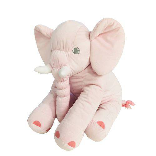 Almofada Travesseiro Elefante de Pelúcia para Bebê Dormir Rosa 60cm - LuckBaby