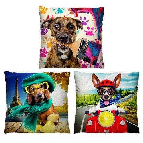 3 Almofadas Decorativas Cachorros para Sala II