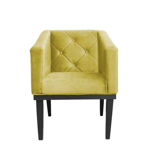 Poltrona Cadeira Decorativa Rafa Escritório Suede Amarelo