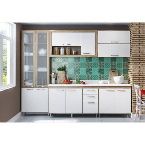 Ambiente Modulado com Paneleiro de Portas de Vidro Toscana Argila com Branco - Multimóveis
