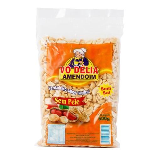 Amendoim Vo Delia 500g Sem Pele Sem Sal