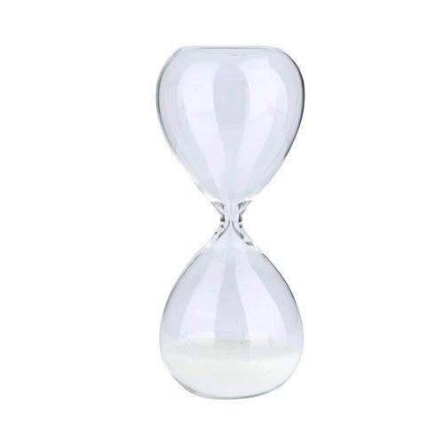 Ampulheta Vidro Clear Glass Branca - 30 Min