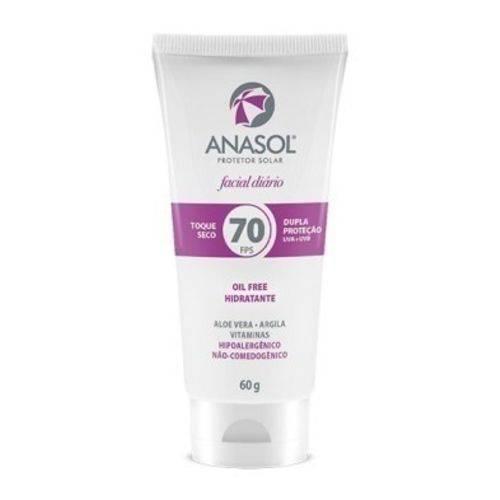 Anasol Protetor Solar Facial Fps70 Toque Seco 60g Oil Free