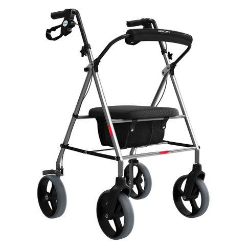 Andador 4 Rodas, Assento e Cesta Mercur Dobrável de Alumínio para Idosos