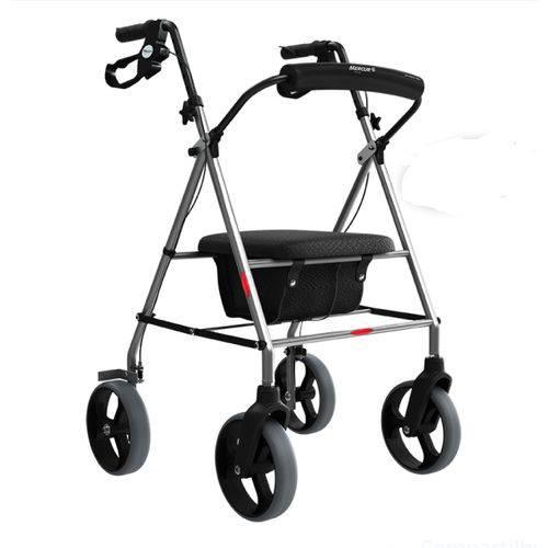 Andador Aluminio 4 Rodas Assento / Cesto Mercur