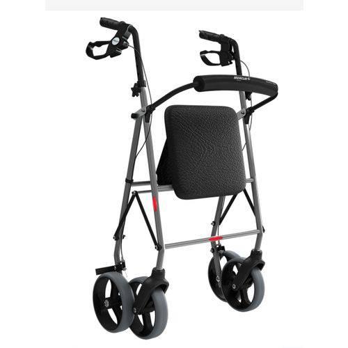 Andador de Alumínio 4 Rodas Assento Até 135kg Dobravél Mercur