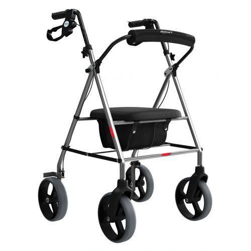 Andador de Alumínio Dobrável com Rodas, Assento e Cesta