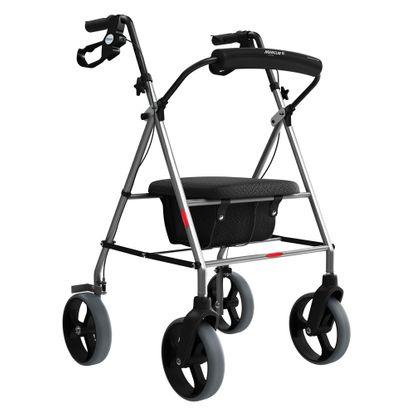 Andador de Alumínio Mercur com Rodas Assento e Cesta