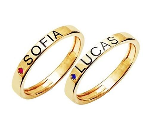 Anéis com Nomes Personalizados com Ponto Cristal Banhado a Ouro 18k Aro 10