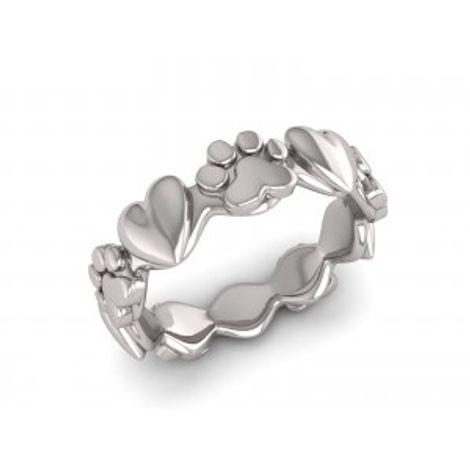 Anel Coração e Patinha Recortado em Prata 950 - Flor de Prata