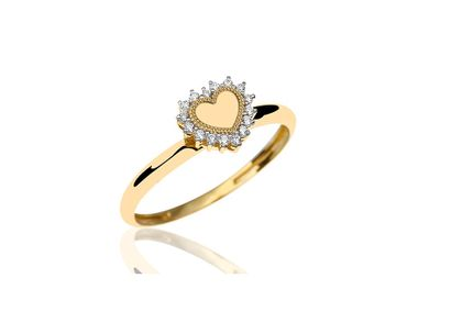 Anel de Corações com Diamantes Ouro Amarelo T10