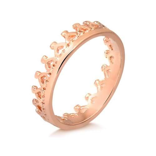 Anel de Coroa Vazada Folheado em Ouro Rosé - 1140000002091