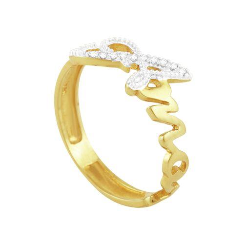 Anel em Ouro 18K Amor com Diamantes - AU1320