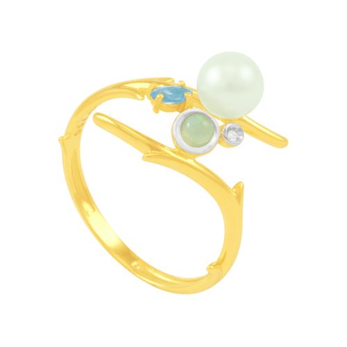 Anel em Ouro 18k com Pérola, Opala, Topázio Azul e Diamante AU5630