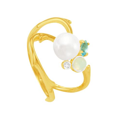 Anel em Ouro 18k com Pérola, Opala, Topázio Azul e Diamante AU5727