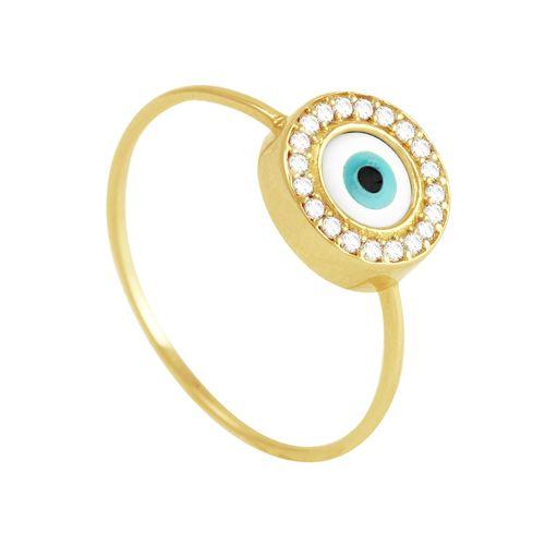 Anel em Ouro 18K Olho Grego com Zircônias - AU3829