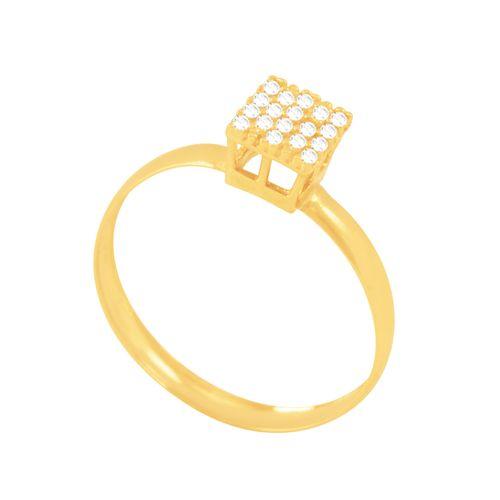 Anel em Ouro 18K Pavê Quadrado com Zircônias - AU5471