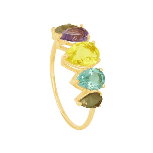 Anel em Ouro 18K Pedras Brasileiras - AU6313