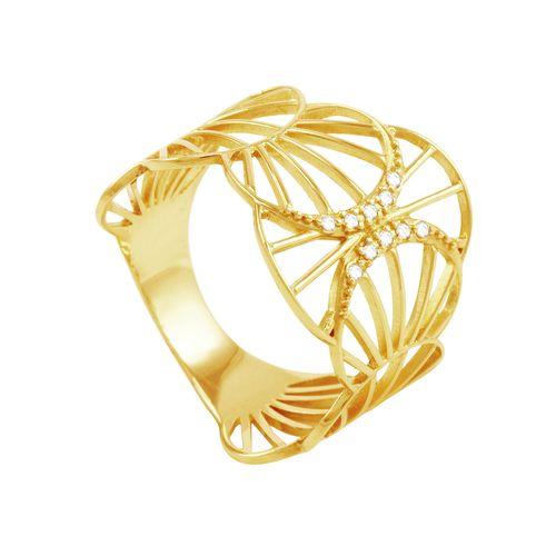 Anel em Ouro 18K Raios de Sol com Diamantes - AU1115